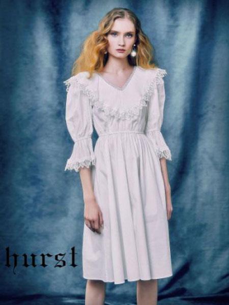 赫斯特女装品牌2019春夏新款v领时尚收腰白色长裙雪纺裙