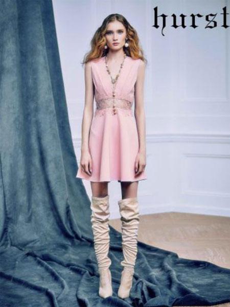 赫斯特女装品牌2019春夏新款修身纯色收腰中长裙