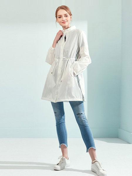 娜尔思女装品牌2019春夏新款白色宽松抽绳系带立领薄款户外防晒服