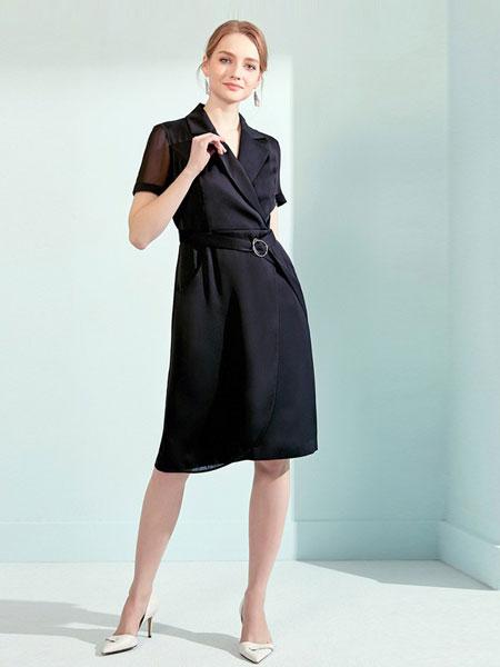 娜尔思女装品牌2019春夏新款西装收腰短袖职业黑色中长裙