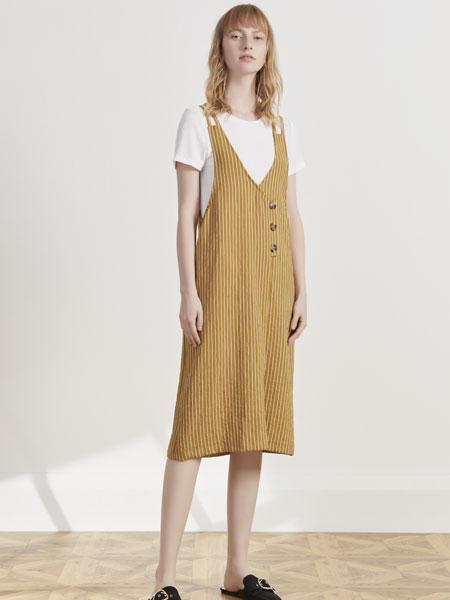 你即永恒女装品牌2019春夏新款时尚条纹背带连衣裙套装