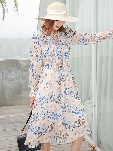 衣号女神女装品牌2019春夏新款法式浪漫超仙复古荷叶边碎花雪纺气质薄款连衣裙