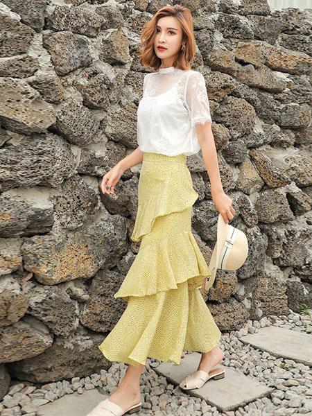 衣号女神女装品牌2019春夏新款版显瘦遮肚子女百搭雪纺裙不规则复古高腰波点中长款蛋糕裙