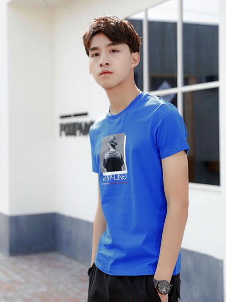 99CM男装品牌2019春夏新款韩版时尚宽松百搭圆领印花短袖T恤