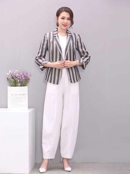 凡于女装品牌2019春夏新款休闲条纹修身一粒扣西装棉麻西服外套