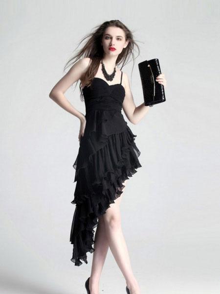 艾丽轩女装品牌2019春夏新款通勤气质优雅裹胸露肩不对称礼服裙
