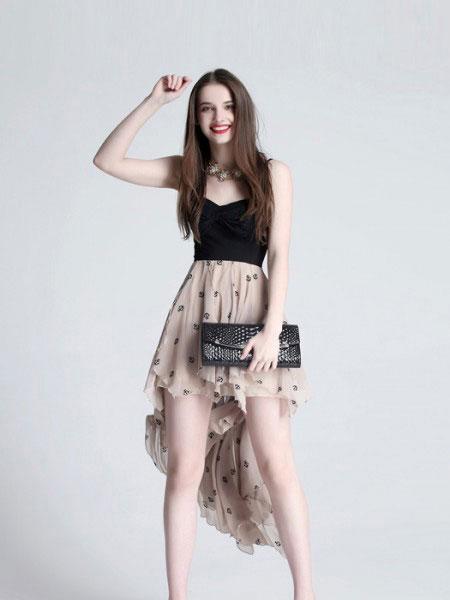 艾丽轩女装品牌2019春夏新款韩版性感拼接收腰显瘦连衣裙