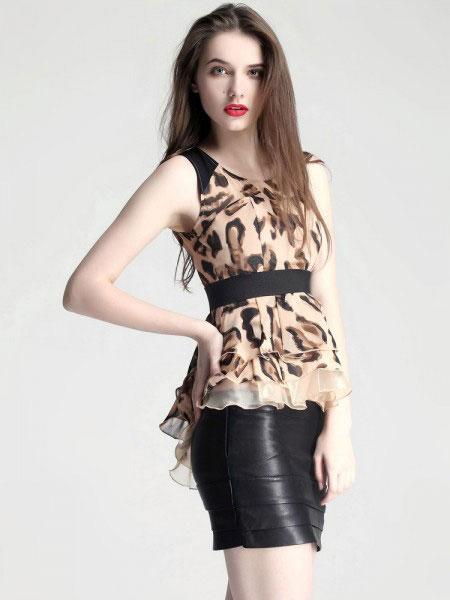 艾丽轩女装品牌2019春夏新款韩版时尚收腰显瘦无袖衬衫上衣
