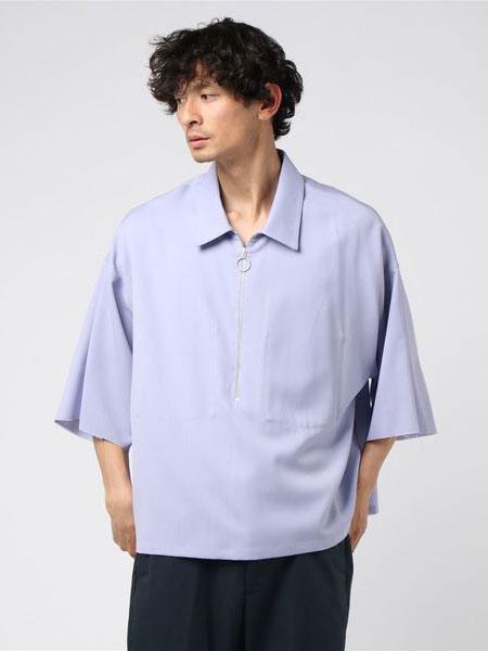 bukht男装品牌2019春夏新款纯色简约韩版日系拉链短袖t恤