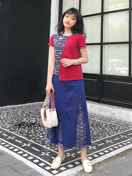禾文阿思/印巴文化女装品牌2019春夏新款韩版时尚复古拼接连衣裙