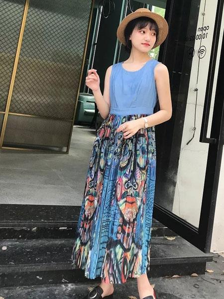禾文阿思/印巴文化女装品牌2019春夏新款韩版裙子碎花雪纺长裙无袖连衣裙