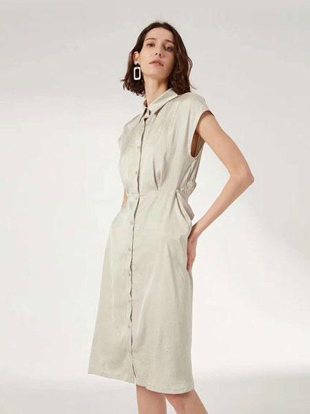 欧裔熙女装品牌2019春夏新款连袖中长款显瘦宽松知性优雅气质连衣裙