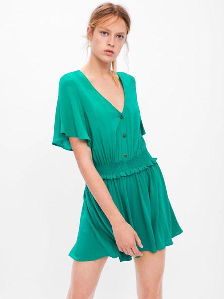FREE STORE/ZARA女装品牌2019春夏新款显瘦收腰V领短袖连体裤