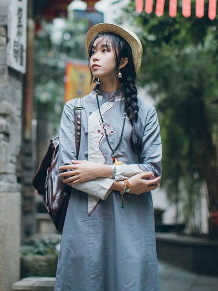 蒂斐雅女装品牌2019春夏新款文艺中式盘扣连衣裙复古中国风茶服