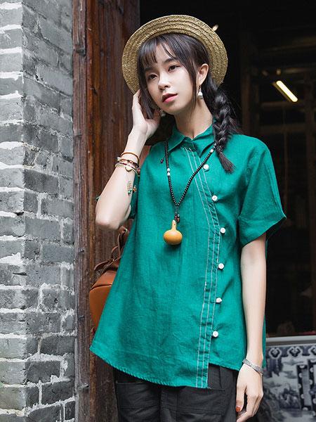 蒂斐雅女装品牌2019春夏新款时尚轻中式短袖宽松文艺复古衬衫