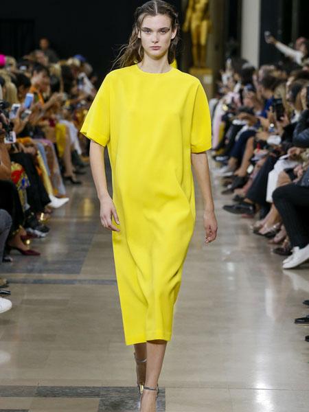 巴黎罗莎 (Rochas)女装品牌2019春夏新款欧美时尚百搭潮流休闲宽松bf风荧光色黄色长T连衣裙