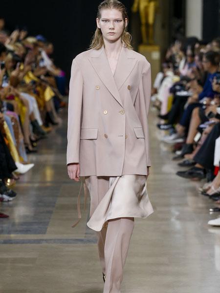 巴黎罗莎 (Rochas)女装品牌2019春夏新款双排扣西装九分直筒裤时尚套装
