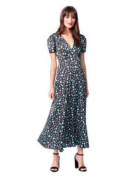 Betseyville贝齐城女装品牌2019春夏新款复古百搭V领一片式系带碎花高腰显瘦连衣裙