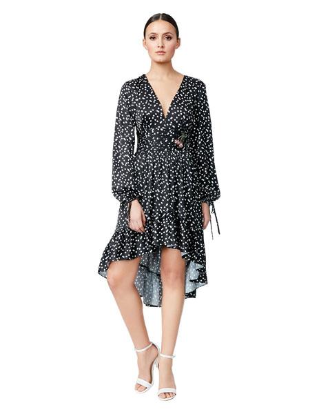 Betseyville贝齐城女装品牌2019春夏新款v领波点收腰气质荷叶边中长款连衣裙