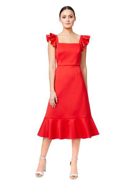 Betseyville贝齐城女装品牌2019春夏新款气质红色包臀鱼尾裙摆吊带连衣裙