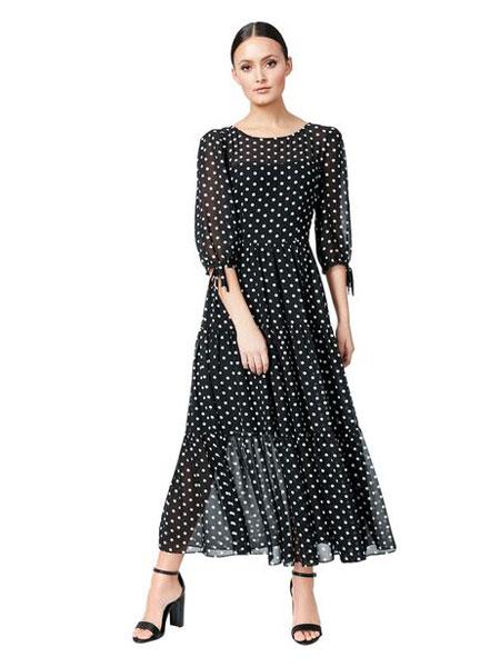 Betseyville贝齐城女装品牌2019春夏新款翻领七分袖大摆裙小清新气质波点印花连衣裙