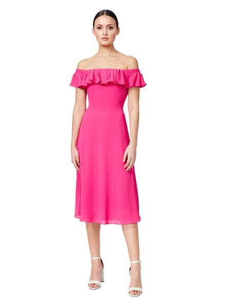 Betseyville贝齐城女装品牌2019春夏新款抹胸一字肩修身长款礼服雪纺连衣裙