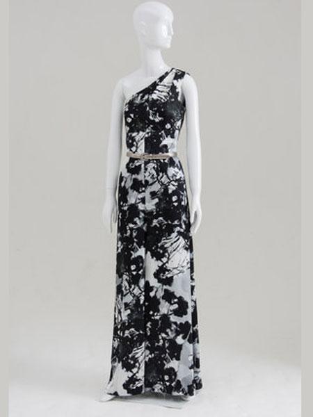 Bruce Oldfield布鲁斯·奥德菲尔德女装品牌2019春夏新款斜肩无袖开叉高腰显瘦复古连衣裙
