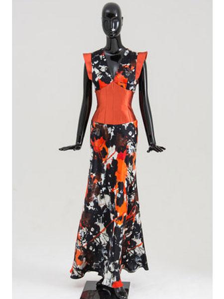 Bruce Oldfield布鲁斯·奥德菲尔德女装品牌2019春夏新款复古时尚印花连衣裙