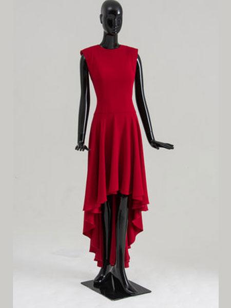 Bruce Oldfield布鲁斯·奥德菲尔德女装品牌2019春夏新款红色连衣裙女不规则设计感礼服裙无袖连衣裙