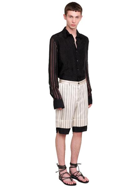 Ann Demeulemeester安·迪穆拉米斯特男装品牌2019春夏新款时尚修身弹力棉休闲短裤