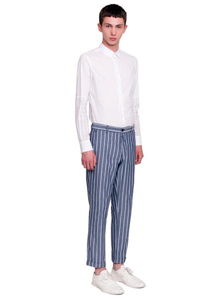 Ann Demeulemeester安・迪穆拉米斯特男装品牌2019春夏新款条纹修身弹力棉休闲西裤