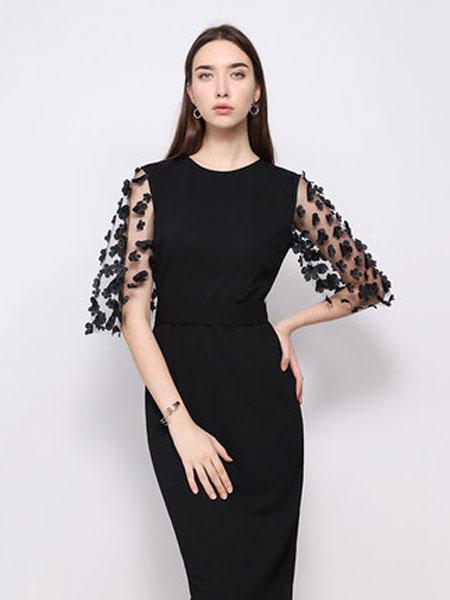 达丽坊女装品牌2019春夏新款仙女超仙黑色连衣裙立体花边拼接袖设计感
