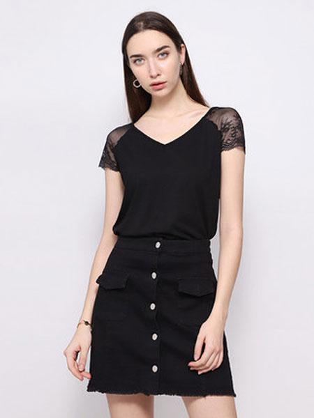 达丽坊女装品牌2019春夏新款V领T恤纯色蕾丝拼接袖口上衣百搭打底衫