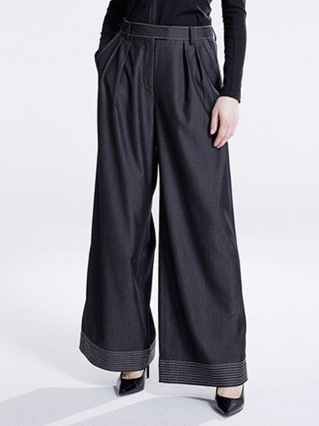 达丽坊女装品牌2019春夏新款纯色垂感宽松薄款直筒阔腿裤百搭长裤
