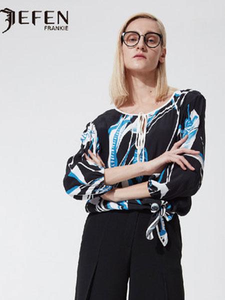 吉芬女装品牌2019春夏新款领口系带印花衬衫