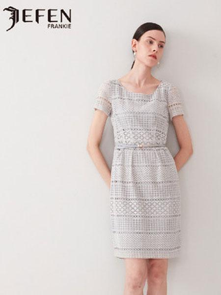 吉芬女装品牌2019春夏新款几何图形蕾丝腰饰带花苞连衣裙女中长裙