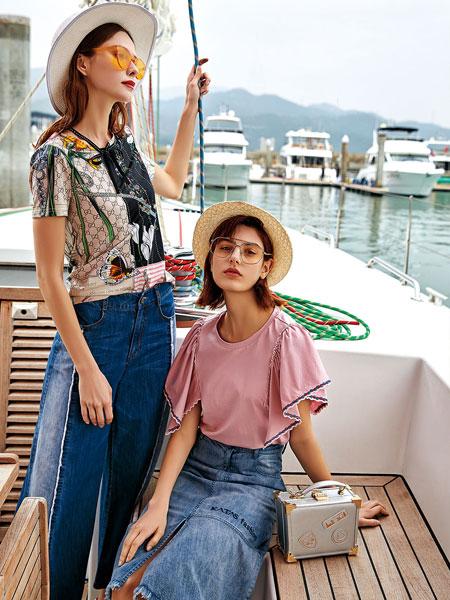 卡塔女装品牌2019春夏新款显瘦宽松套头短袖上衣小清新百搭荷叶边喇叭袖T恤