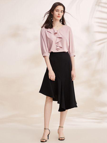 春美多女装品牌2019春夏荷叶领七分袖法式简约衬衫雪纺上衣