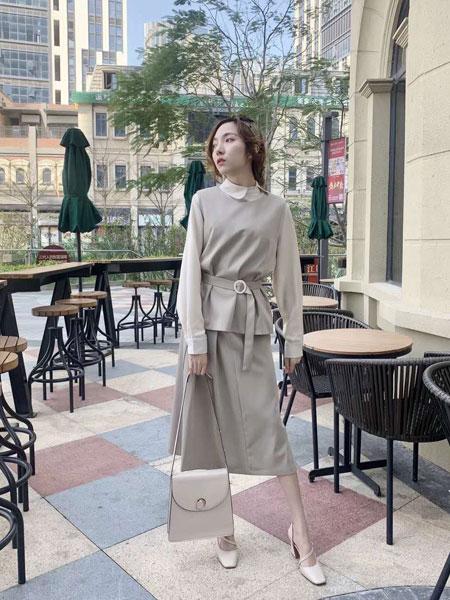 薇薇希女装品牌2019春夏新款韩版纯色修身气质套装