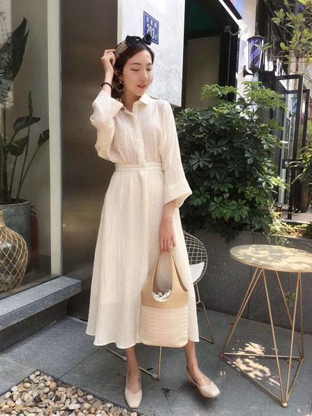 薇薇希女装品牌2019春夏新款古优雅衬衫气质连衣裙雪纺百褶收腰超仙长裙