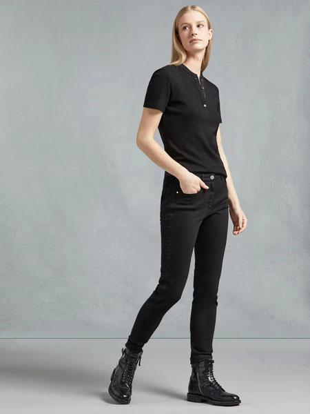 Belstaff贝达弗女装品牌2019春夏新款时尚休闲翻领短袖T恤