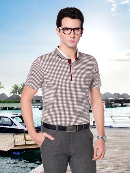 红蜻蜓男装品牌2019春夏新款韩版时尚商务修身显瘦翻领短袖T恤