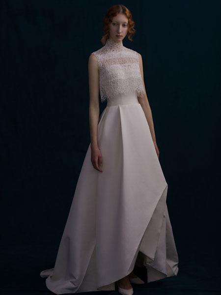SHINE MODA婚纱/礼服品牌2019春夏新款尚气质名媛高端显瘦晚会优雅性感白色长款晚礼服