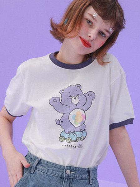 TYAKASHA塔卡沙女装品牌2019春夏新款时尚宽松休闲百搭圆领短袖T恤