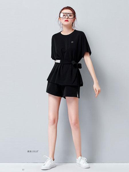 艾米女装品牌2019?#21512;?#25910;腰绑带显瘦上衣洋气阔腿裤两件套