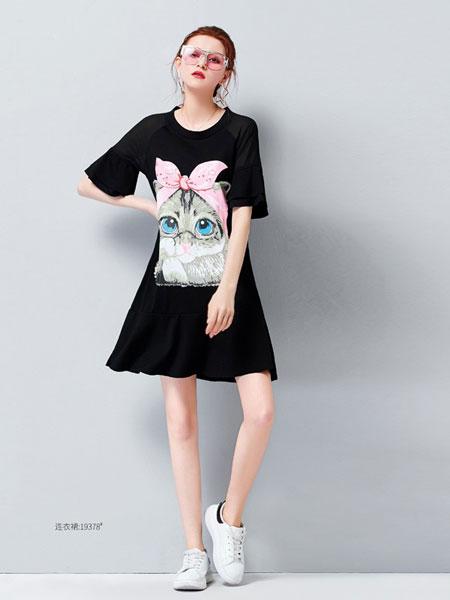 艾米女装品牌2019?#21512;?#21360;花荷叶边宽松字母韩版连衣裙