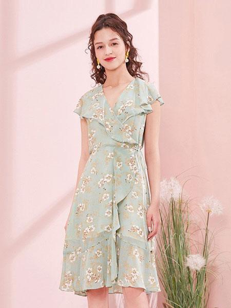 阿依莲女装品牌2019春夏新款时尚印花雪纺连衣裙双层收腰系带淑女裙