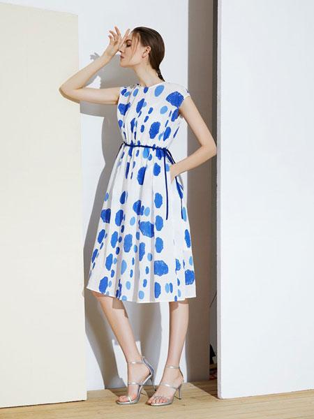 MIEGOAL麦谷风女装品牌2019春夏新款天丝棉扎染圆点侧绳优雅连衣裙