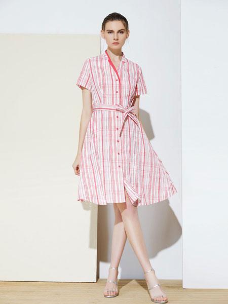 MIEGOAL麦谷风女装品牌2019春夏系带裹身裙 下摆开叉中长款连衣裙