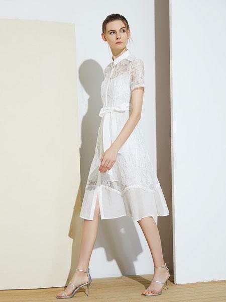 MIEGOAL麦谷风女装品牌2019春夏新款网纱镂空气质通勤收腰两件套裙